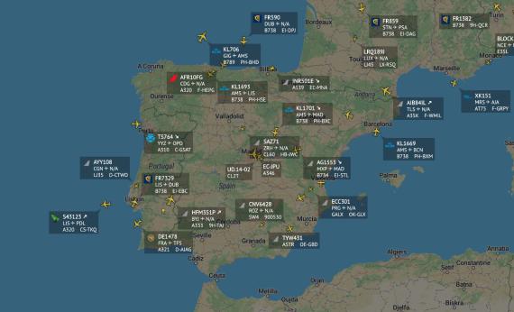 Tráfico aéreo en la península ibérica este lunes 30 de marzo.