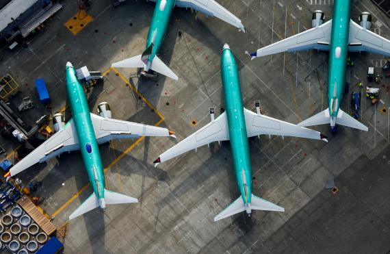 Aviones Boeing 737 MAX en el hangar de una fábrica de la compañía en Renton, Washington, EEUU.