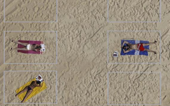 Cubículos en la playa