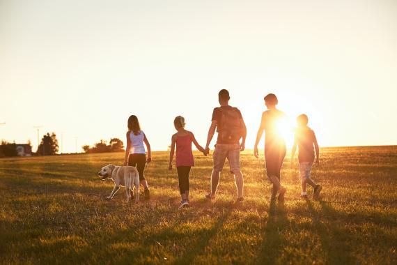 Grupo de amigos felices y contentos paseando por el campo.