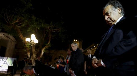 Leoluca Orlando, alcalde de la ciudad siciliana de Palermo, y Don Luigi Ciotti, fundador de la organización de la sociedad civil antimafia Libera