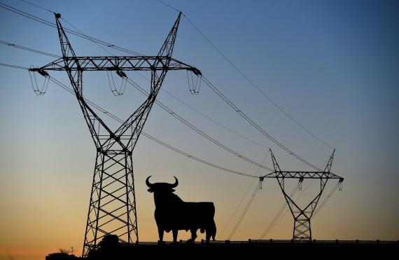 Una línea eléctrica de alta tensión