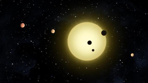 Representación de un sistema formado por 6 planetas orbitando su estrella.