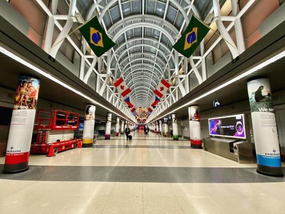El Aeropuerto Internacional O'Hare de Chicago durante la pandemia.
