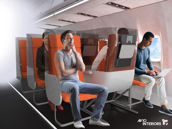 El diseño del avión podría incorporar medidas de distanciamiento social en el futuro.