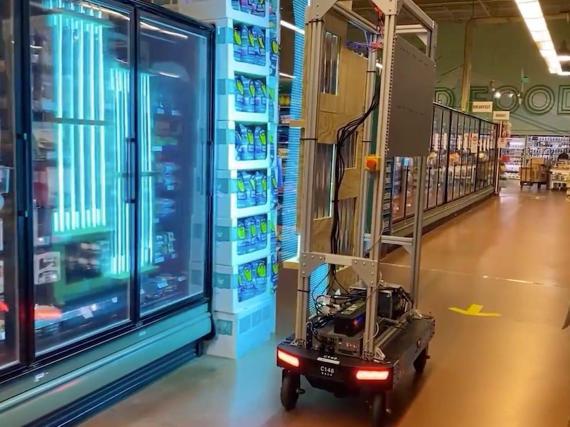 Amazon designed a robot that emits ultraviolet light.