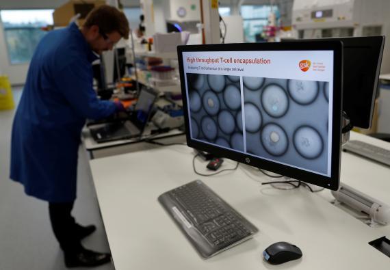 Un científico de GSK estudia células cancerígenas
