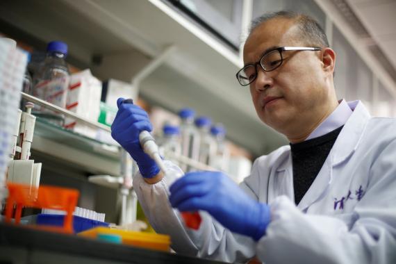Científico investigando cura