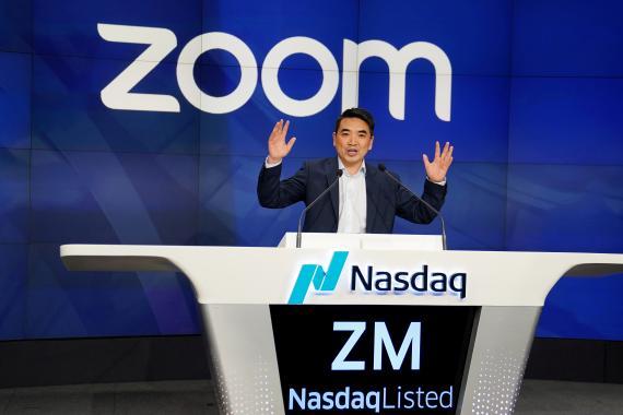 Eric Yuan, CEO de Zoom, el día de su salida a bolsa.