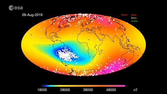 Situación de la Anomalía (magnética) del Atlántico Sur en agosto de 2019.