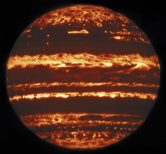 Imagen infrarroja de Júpiter, Observatorio Internacional de Gemini, 29 de mayo de 2019.