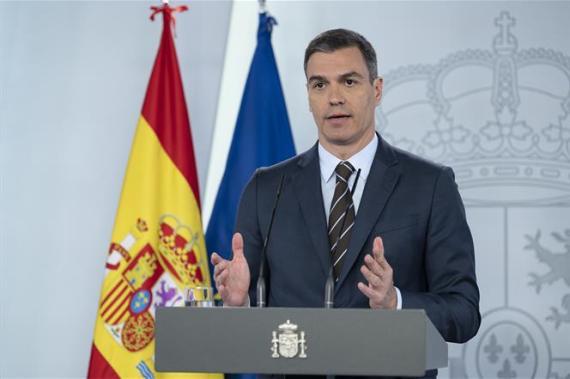 Pedro Sánchez, durante una comparecencia.