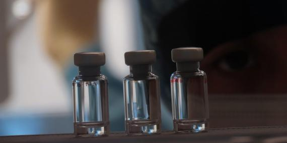A row of vaccine vials at the Clinical Biomanufacturing Facility in Oxford, England, on April 2, 2020.