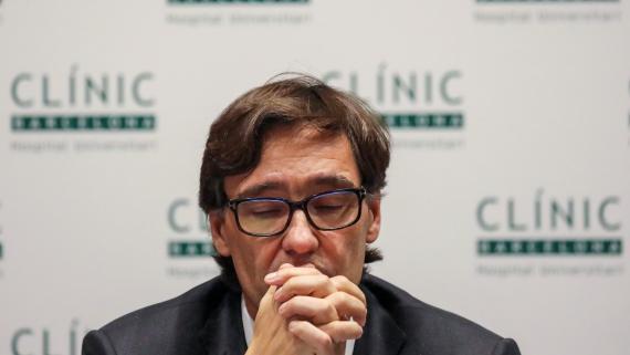 Salvador Illa, ministro de Sanidad, en una rueda de prensa antes de la cancelación del Mobile World Congress.