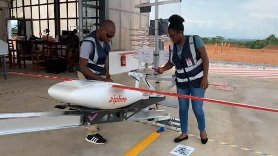 Zipline uses drones to deliver medical products to close to 2,500 hospitals and health facilities in Rwanda and Ghana.
