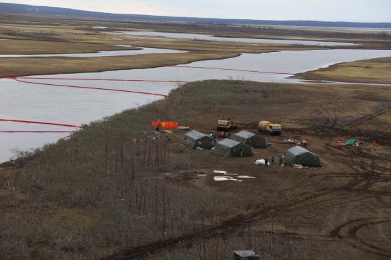 Área contaminada por el vertido de Norilsk en Siberia
