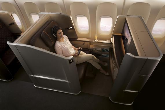 Un asiento de primera clase en Singapore Airlines