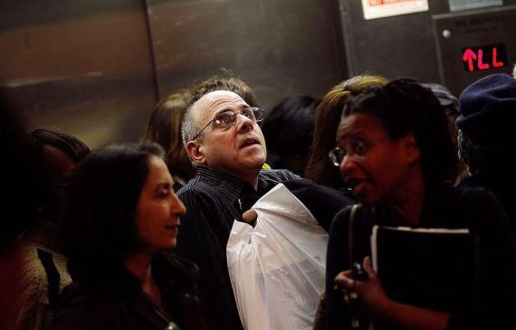 A crowded elevator.