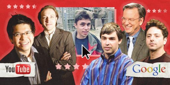 From left: YouTube founders Steve Chen, Chad Hurley, and Jawed Karim; Google cofounder Larry Page, former Google CEO Eric Schmidt, and Google cofounder Sergey Brin.