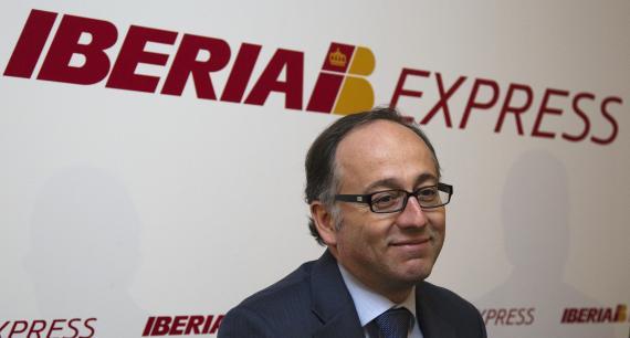 El presidente de Iberia, Luis Gallego, en una rueda de prensa en 2012.