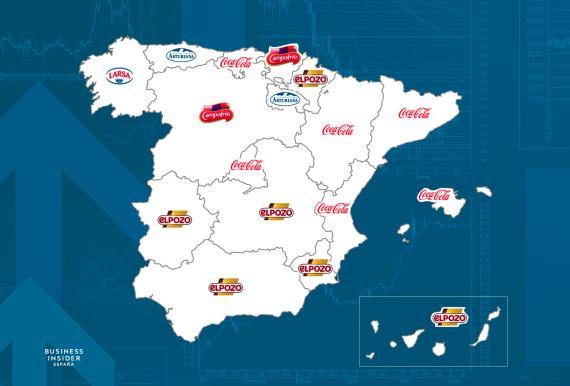 Mapa con las marcas más vendidas en España