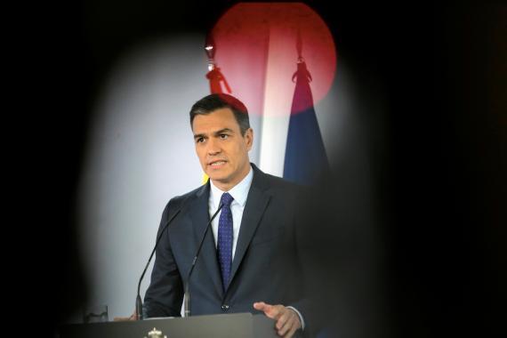 Pedro Sánchez, durante una rueda de prensa en La Moncloa.