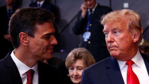 El presidente del Gobierno, Pedro Sánchez, y el de EEUU, Donald Trump