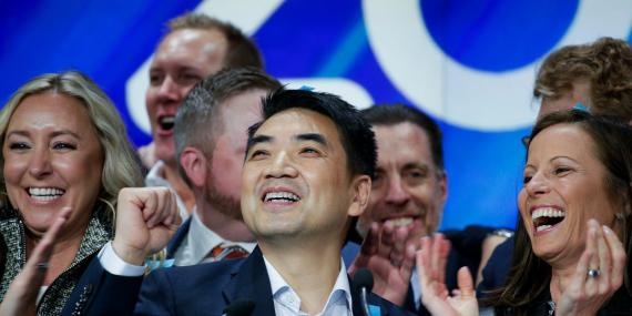 Zoom founder Eric Yuan reacts at the Nasdaq opening bell ceremony on April 18, 2019 in New York City. The video-conferencing software company announced it's IPO priced at $36 per share, at an estimated value of $9.2 billion.