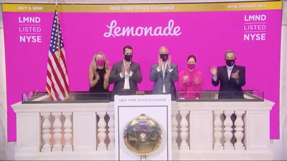 Lemonade Inc el día de su salida a bolsa.