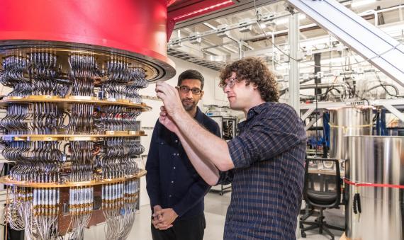 Una parte del ordenador cuántico de Google en el laboratorio de Santa Bárbara