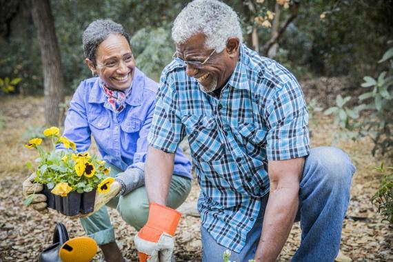 Personas mayores en el jardín.