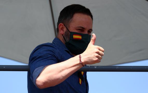 Santiago Abascal, presidente de Vox, en una protesta contra el Gobierno.