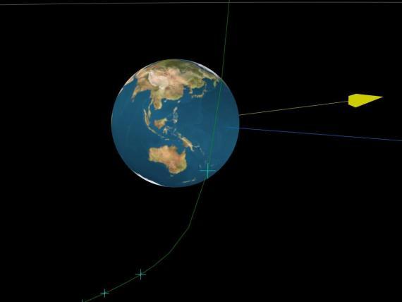 Un diagrama del asteroide 2020 QG volando más allá de la Tierra el 16 de agosto. La flecha amarilla muestra la dirección del sol, la azul muestra la dirección de la Tierra y las escotillas verdes muestran la ubicación del asteroide cada 30 minutos.