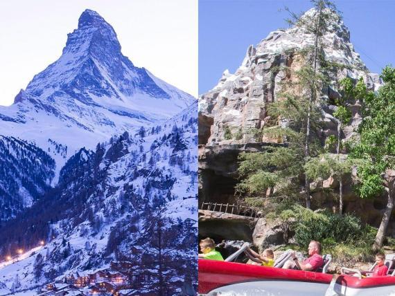 El monte Cervino en Zermatt, Suiza (izquierda) y la atracción 'Matterhorn' en Disneyland, California (derecha).