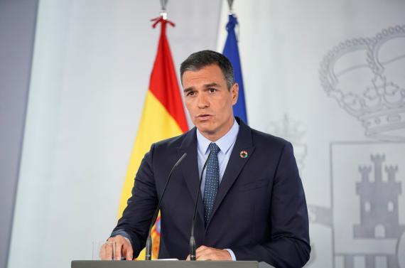 Pedro Sánchez, presidente del Gobierno, durante su comparecencia en La Moncloa.