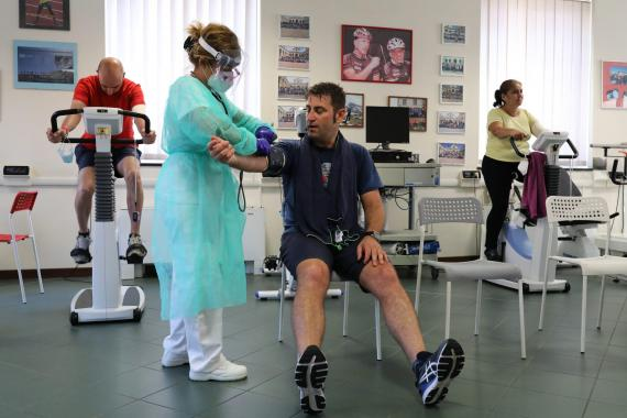 Recovered COVID-19 patient Emiliano Pescarolo, 42, get his last cardio-respiratory measurement at the end of his rehabilitation at the Department of Rehabilitative Cardiology in Genoa, Italy, on July 22, 2020. Marco Di Lauro/Getty Images