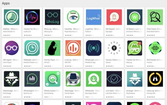 """Hay docenas de resultados de búsqueda para """"rastreador de WhatsApp"""" en la tienda Google Play, y las aplicaciones no intentan ocultar su propósito"""