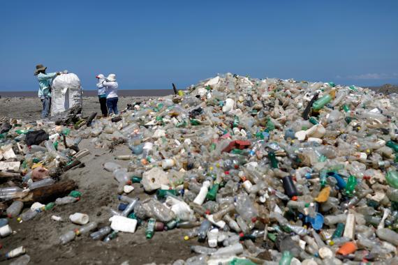 Botellas de plástico no recicladas.