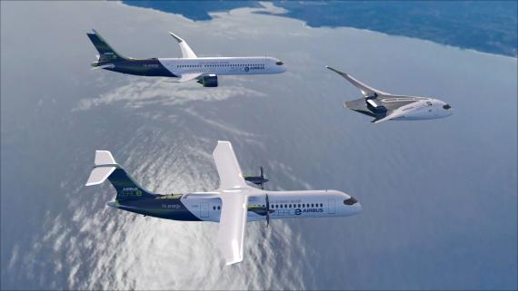 Las tres aeronaves que ha presentado Airbus.
