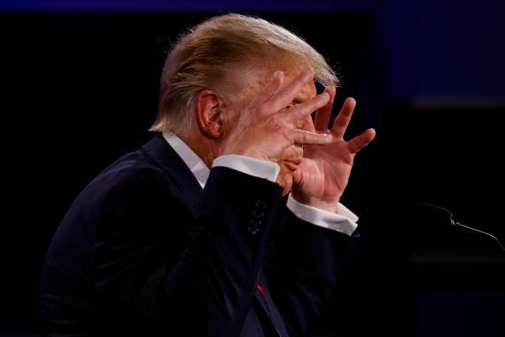 Donald Trump, durante el primer debate presidencial con Joe Biden.