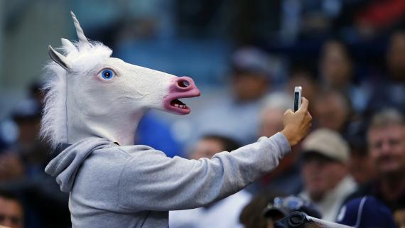 Un hombre disfrazado de unicornio.
