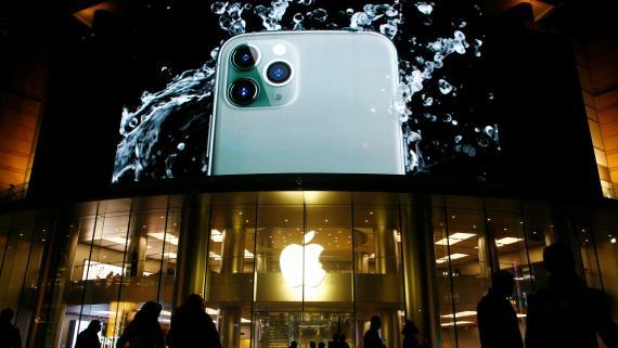El iPhone 11 Pro anunciado en una Apple Store de Pekín.