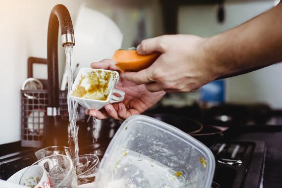 limpiar platos, estropajo, cocina