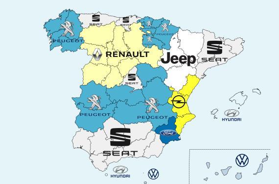 Mapa de las marcas de coches más vendidas por comunidades autónomas en España.