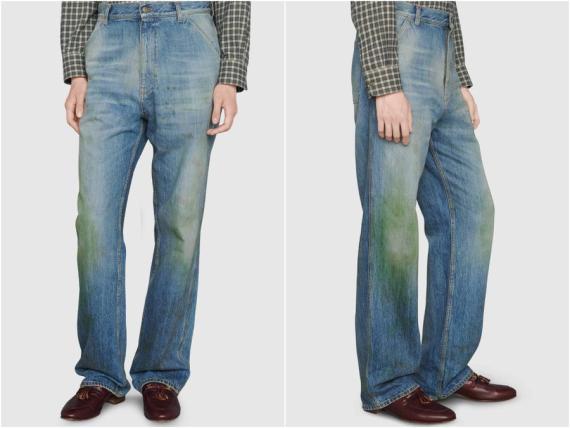 Pantalones con efecto manchas de hierba de Gucci.
