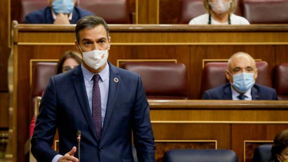El presidente del Gobierno, Pedro Sánchez, durante la sesión de control del Congreso de los Diputados