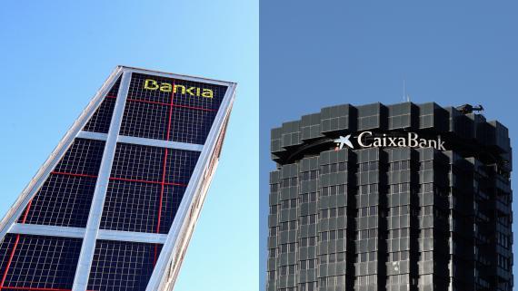Las sedes de Bankia y CaixaBank en Madrid y Barcelona, respectivamente