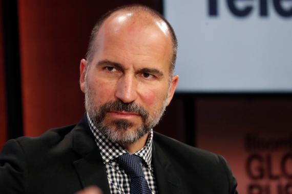 El CEO de Uber, Dara Khosrowshahi, en un evento de Bloomberg en Nueva York.