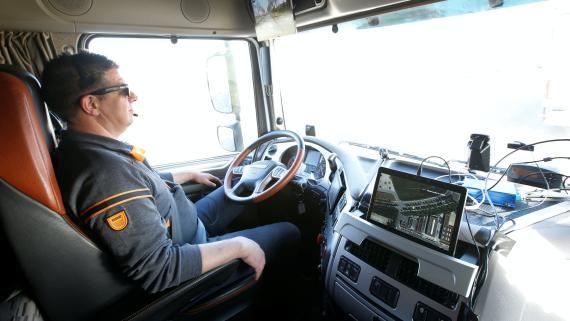 Un camión autónomo presentado en Munich en 2016.