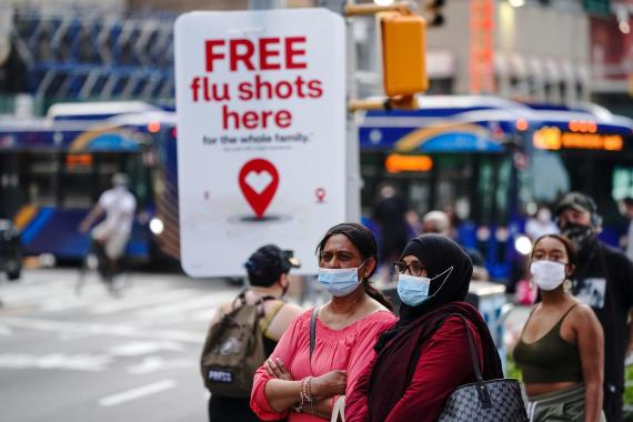 An advertisement offering free flu shots in New York City on August 21, 2020.